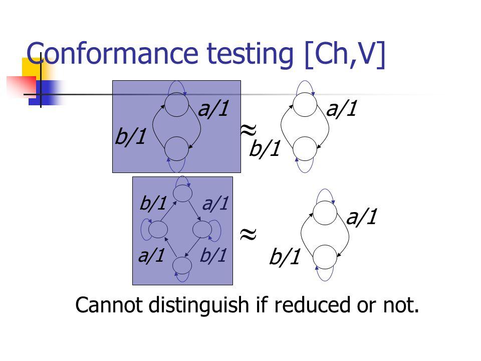 Conformance testing [Ch,V]